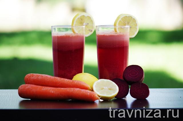 свекольный сок лучше пить вместе с морковным